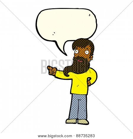 cartoon man with beard pointing with speech bubble