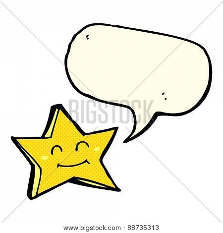 cartoon happy star character with speech bubble