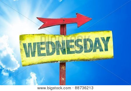 Wednesday sign with sky background