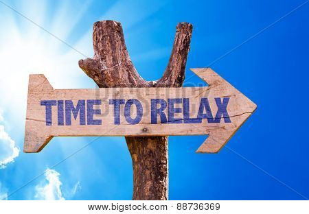 Time to Relax wooden sign with sky background