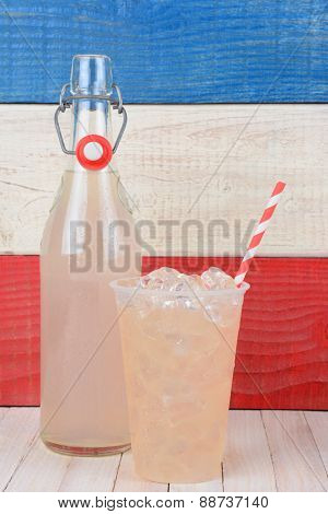 Closeup of a bottle of lemonade and a glass with drinking straw.