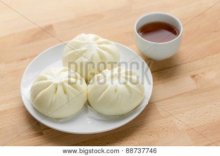 Chinese tea time, bun and tea
