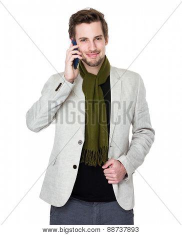 Man talk to cellphone