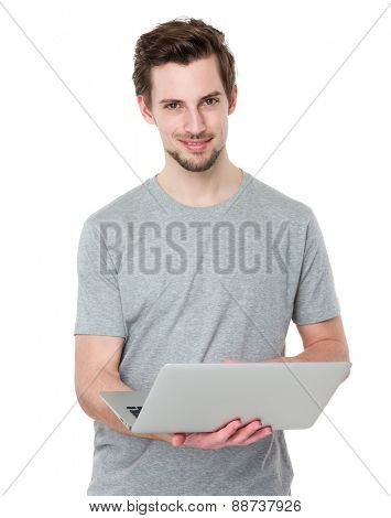 Man uses laptop