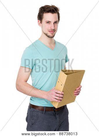 Caucasian student man holds folder
