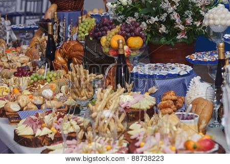 Catering Food With Decoration During Celebration And Reception