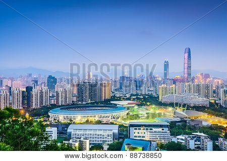 Shenzhen, China financial district skyline.
