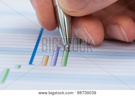 Hand With Pen Over Gantt Diagram
