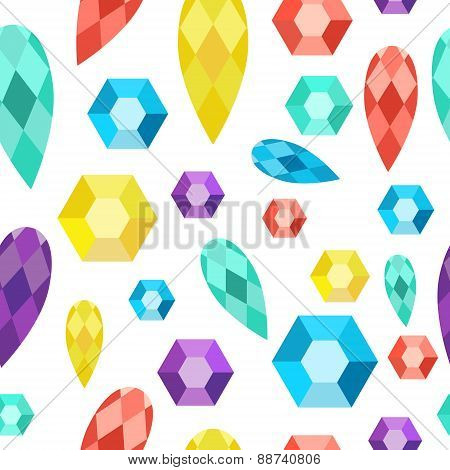Seamless Pattern Precious Stones, Gems, Diamonds, Crystals.