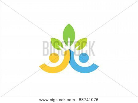 partnership logo,team work symbol,health nature couples icon,wellness people team vector design