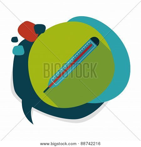 Thermometer Flat Icon With Long Shadow
