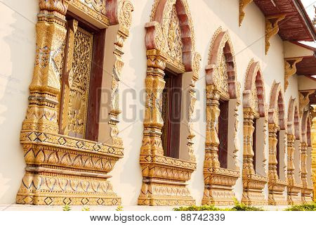 Thailand Sculpture Art Design Of Church Window