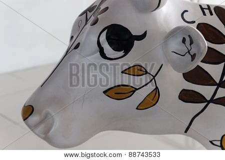Cow Figurine With Flower Painting