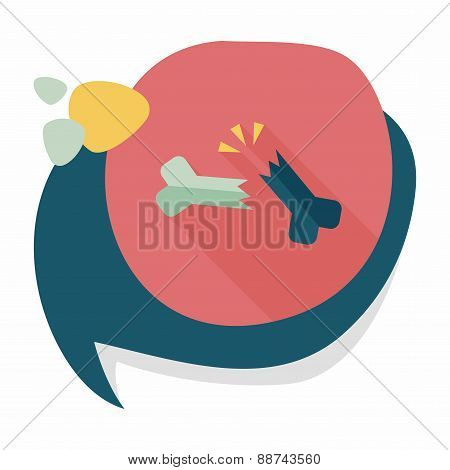 Bone Fracture Flat Icon With Long Shadow