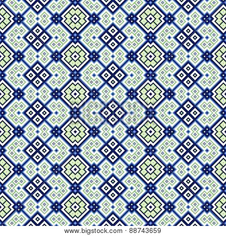 Seamless Geometric Pattern In Blue, Green