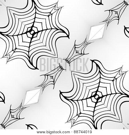 Seamless Kaleidoscope Texture Or Pattern In Black On White 2