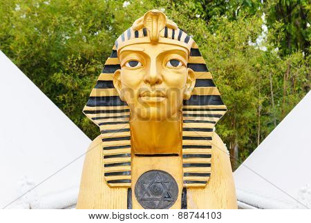 Sphinx Statue With White Pyramid