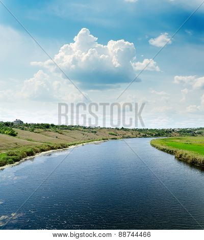 aerial view to river and cloudy sky over it