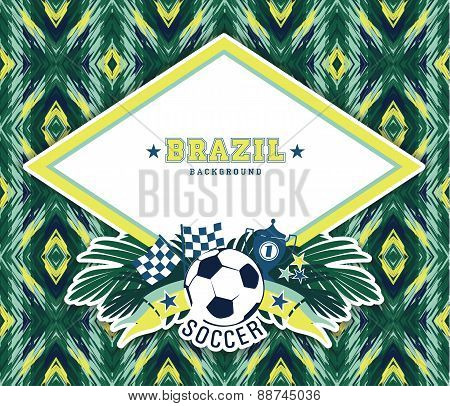 Vector Frame With Traditional Brazilian Football Theme