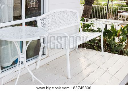 Metal White Chair And Table