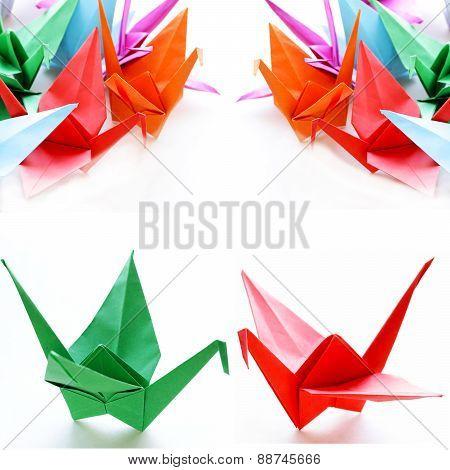 collage of colorful origami (crane) on a white background