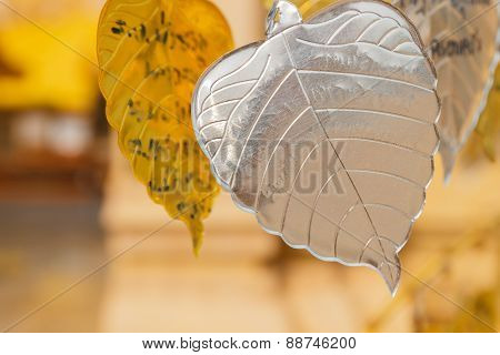 Silver Metal Sheet In Bo Leaf Shape