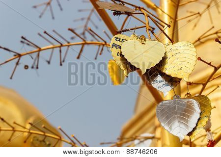 Golden Metal Sheet In Bo Leaf Shape