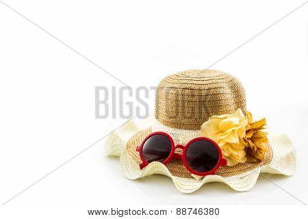Woven Hat, With Red Sunglasses.