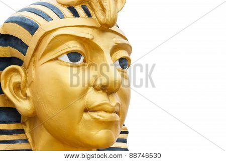 Golden Pharaoh Statue Isolated On White Background