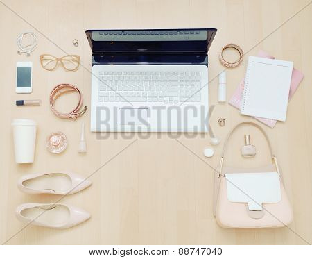 Stylish Casual Set Of Computer And Stuff For Urban Woman In Soft Colors