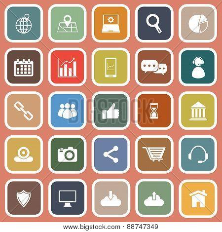 Seo Flat Icons On Orange Background