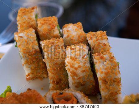Closeup Of Sushi Rolls