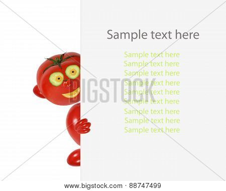 Creative Food Concept. Funny Little Tomato Looks  And Smile With Sample Text.