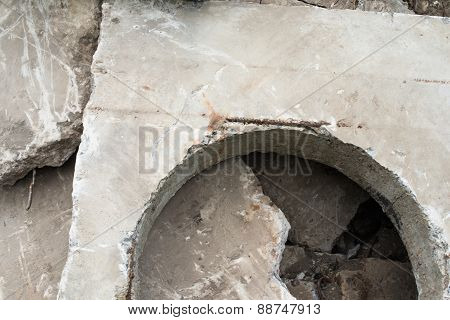 Concrete Block With The Manhole Opening