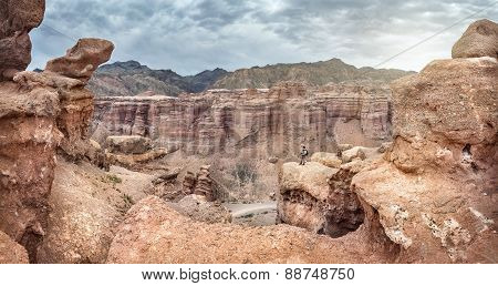 Tourist In Charyn Canyon Of Kazakhstan