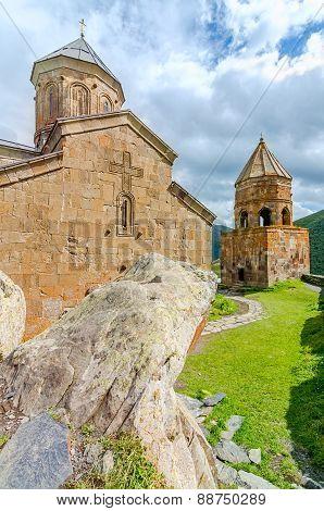 Ancient church on Mount Kazbek in Georgia