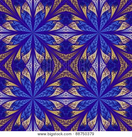 Symmetrical Pattern In Stained-glass Window Style. Blue And Beige Palette. Computer Generated Graphi
