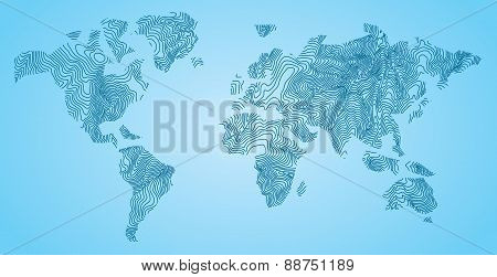 World Map Concept Topolines