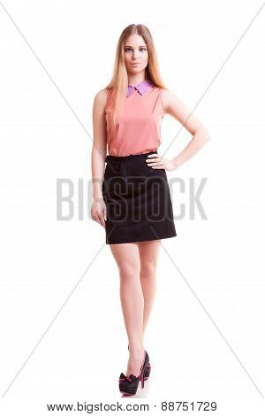 Businesswoman Full Body Isolated Over White Background