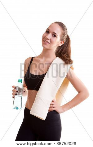 Cute Teenager Girl With Towel On Shoulder And Bottle In Hands