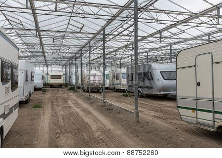 Caravan Parking In Empty Dutch Greenhouse