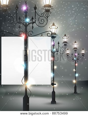 Christmas background with streetlight