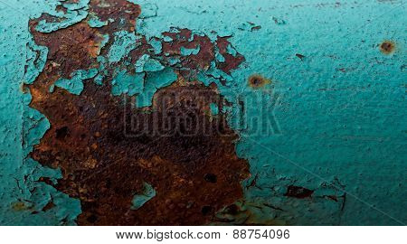 Red Rusted On The Cyan Green Metal Wall . Background And Texture For Your Design.