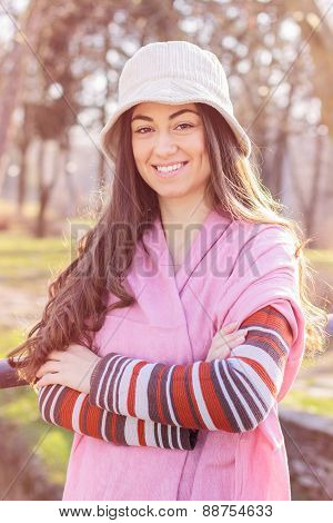 Cheerful Beautiful Lovely Young Woman Relaxing