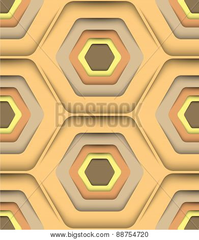 Honeycomb Honey Colors, Vector Seamless Pattern.