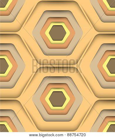 Honeycomb Honey Colors, Vector Seamless Pattern.