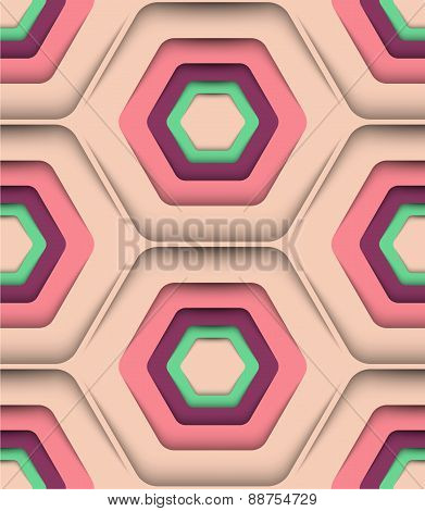 Honeycomb Spring Colors, Vector Seamless Pattern.
