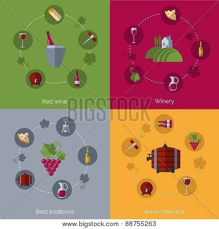 Wine flat 4 icons composition circles
