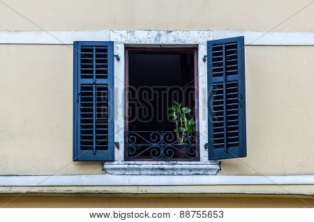 Window With Louvers In Old House