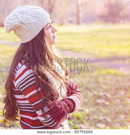 Beautiful Happy Smiling Girl Outdoor